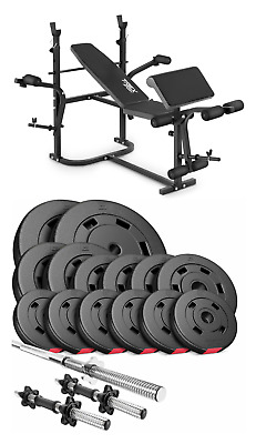 Pro Home Exercise Bench With Prayer Book + SET 58 Kg  Weights Plates And Bars • 510£