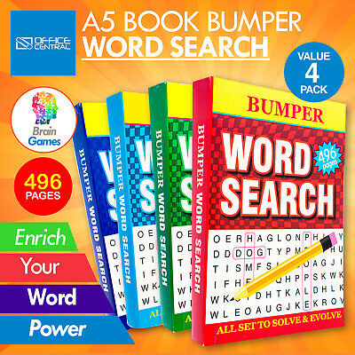AU22.95 • Buy Word Search 4PK Activity Books Bumper 496PG A5 Size Adult Brain Games Fun