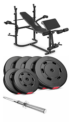 Pro Home Exercise Bench With Prayer Book + SET 59 Kg  Weights Plates And Bar • 510£