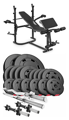 Pro Home Exercise Bench With Prayer Book + SET 75 Kg  Weights Plates And Bars • 620£
