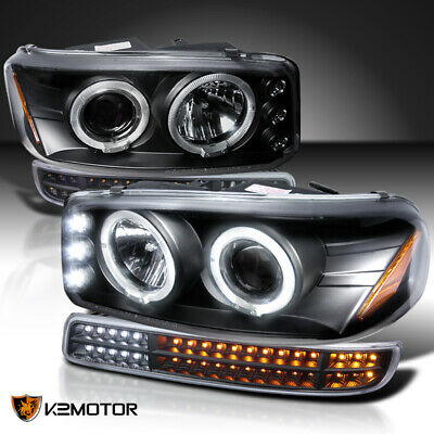 $229.38 • Buy For 1999-2006 GMC Sierra Yukon Black Projector Headlights+Sequential LED Signal