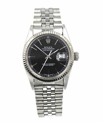 $ CDN2191.02 • Buy Vintage Gents Rolex Datejust 16014 Wristwatch Black Dial 18k Gold Stainless