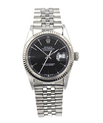 $ CDN3584.35 • Buy Vintage Gents Rolex Datejust 16014 Wristwatch Black Dial 18k Gold Stainless