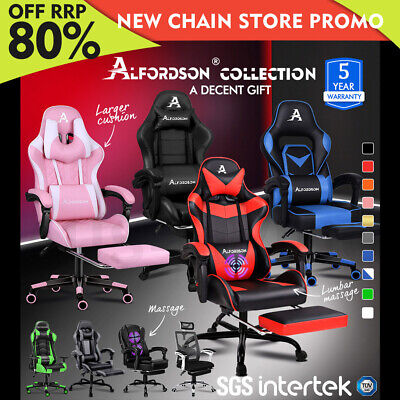 AU139.95 • Buy ALFORDSON Gaming Chair Office Racing Executive Footrest Computer Seat PU Leather