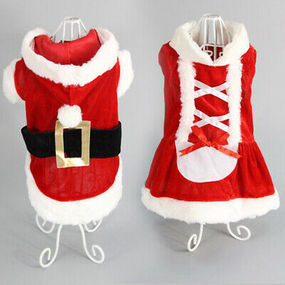 Pet Cat Santa Costume Dog Christmas Small Coat Outfit Clothes Hoodie Jumper Xmas • 6.99£