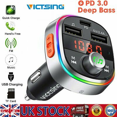 Bluetooth Car FM Transmitter MP3 Player Hands Free Radio Adapter Kit USB Charger • 16.39£