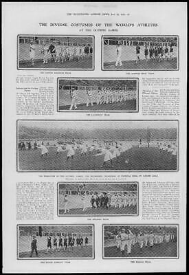 1908 Antique Print - LONDON Olympic Games World Athletes Teams Costumes  (106) • 28.25£