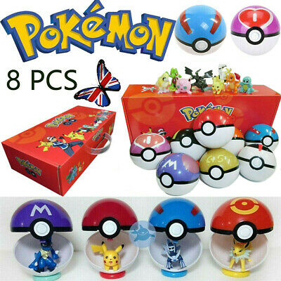 8Pcs/set PokeBall Action Figures Christmas Kids Toys Ball Child Christmas Gift • 18.79£
