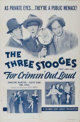$ CDN21.10 • Buy Three Stooges: For Crimin Out Loud Movie POSTER 27 X 40 Shemp Howard, A