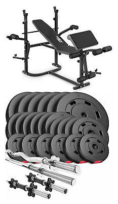Pro Home Exercise Bench With Prayer Book + SET 125 Kg Weights Plates And Bars • 890£