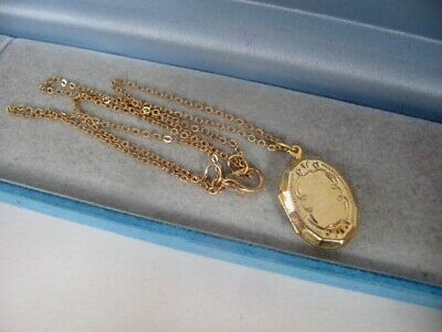 1970s Vintage 9ct GOLD Plated Oval LOCKET 18.5  Chain Necklace Jewellery   4.6g • 33£