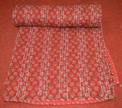 Indian Handmade Kantha Quilt Bedspread Throw Cotton Blanket Ajrakh Print Décor  • 26.99£