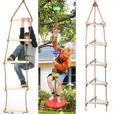 £22.69 • Buy Wooden Swing Climbing Rope Ladder Hang For Kids Children Playground Exercise Toy