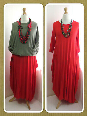Bnwt, Quirky Lagenlook, Red, Jersey, Balloon Dress, Draped Sides, Osfa • 21.99£