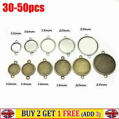 £4.43 • Buy  Double Holes Bezel Pendant Trays Cameo DIY Jewelry Findings Connector 12-25mm