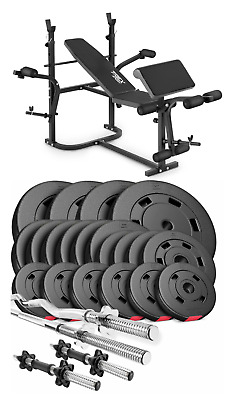 Pro Home Exercise Bench With Prayer Book + SET Of 105kg Weights Plates And Bars • 750£