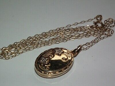 Superb Vintage Solid 9ct Gold Opening Double Picture Locket Pendant & 9ct Chain • 33£