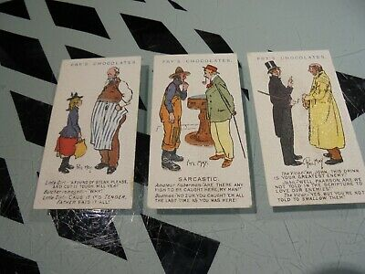FRY [ CHOCOLATE]    PHIL MAY CARTOONS 1905  3 VG CARDS [t] • 6.31£