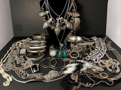 $ CDN29.99 • Buy 2.5lbs Vintage To Modern Silver Tone Jewelry Lot, Wearable, Repair, Craft Items