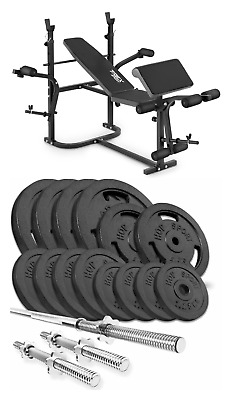 Home Exercise Bench With Prayer Book + SET 79 Kg Iron Weights Plates And Bars • 810£