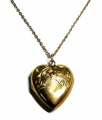.375 9ct YELLOW GOLD Chain Necklace W. GOLD PLATED Heart Locket, 5.79g - L10 • 9.50£