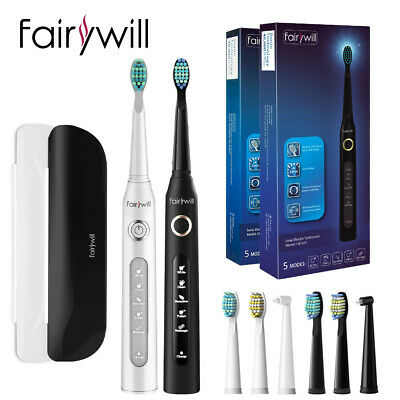 View Details Sonic Electric Toothbrush Fairywill 5 Modes Travel Case Rechargeable 8 Heads USB • 35.99£