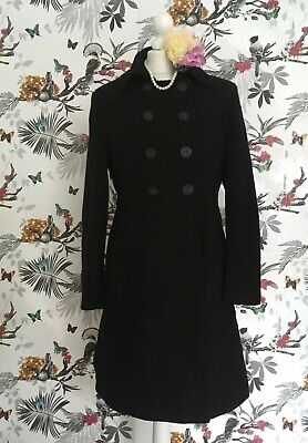 *Vintage Laura Ashley* 20s Black Coat Size 12 14 Edwardian Downtown Abbey Gatsby • 58£