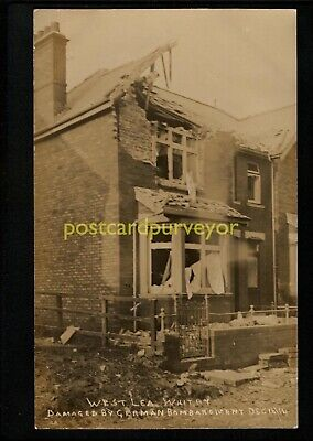 WHITBY WEST LEA HOUSE DAMAGED BY GERMAN BOMBARDMENT Ross RP PC 1914 - 26 • 6£