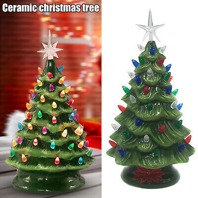 Ceramic LED Lighting Christmas Tree Lamp Tabletop Xmas Tree Bulb Home Decoration • 61.41£