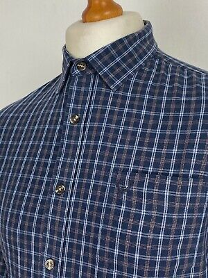 Lincoln | Long Sleeve Point Collar Cotton Check Shirt In Large (Blue) • 0.99£