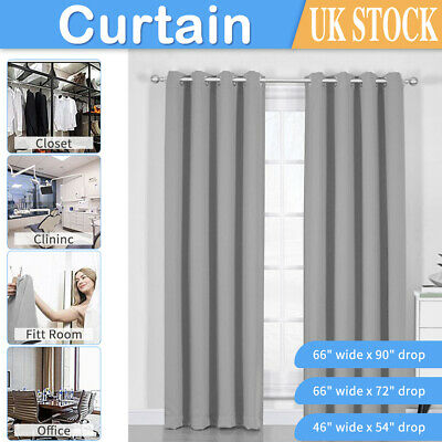 Thick Thermal Blackout Curtains Eyelet Ring Top Ready Made Pair Curtains Panel • 23.99£