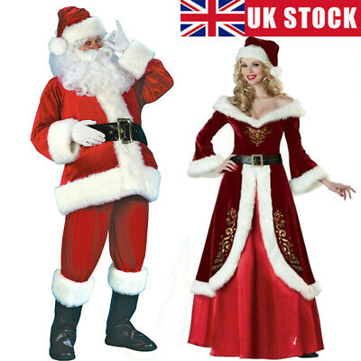 £29.99 • Buy Santa Claus Costume Father Christmas Flannel Suit Mens Adult Fancy Dress Outfit