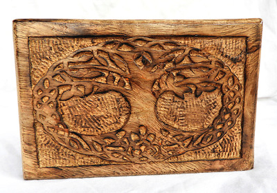 £8.99 • Buy Hand Carved Tree Of Life Design Wooden Box With Lid - BNIB
