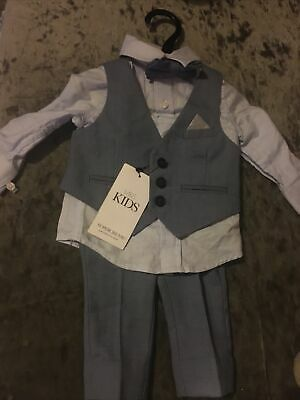 Baby Boys Smart Suit Full Outfit M & S With Dickie Bow 3-6 Month • 4.99£