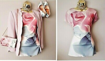 Bnwt Ted Baker Pink Grey Porcelain Rose Fitted T-shirt 12 TB3(Bag Shoes Coat Lst • 22£