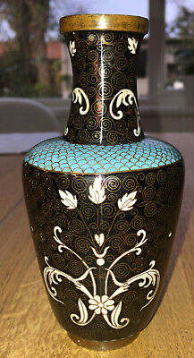 Chinese Cloisonné Noir / Black Enamel Vase Late Qing Beidermeier ? Decoration • 57£