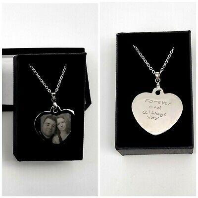 Personalised Engraved Heart Necklace Pendant Charm, Christmas Gift, Mum, Fiance • 11.19£
