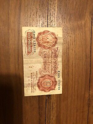Ten 10 Shilling 10/- Bank Note Bank Of England Red-brown Emergency Wartime Issue • 2.95£