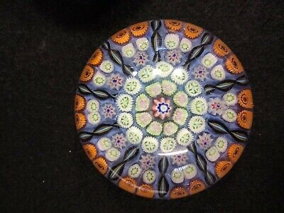 VINTAGE STRATHEARN GLASS MILLEFIORI LATTICINO PAPERWEIGHT 10 Spoke Spiral 2.5 In • 20£