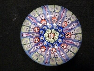 VINTAGE STRATHEARN GLASS MILLEFIORI LATTICINO PAPERWEIGHT  9 Spoke Spiral 2.5 In • 20£