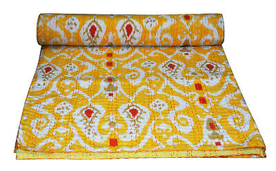 Indian Handmade Yellow Ikat Print Kantha Quilt Bedspread Throw Cotton Blanket  • 26.99£