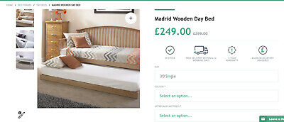 Madrid Single Oak 3ft Wooden Day Bed With Pull Out Trundle Guest Bed Seconds • 32£