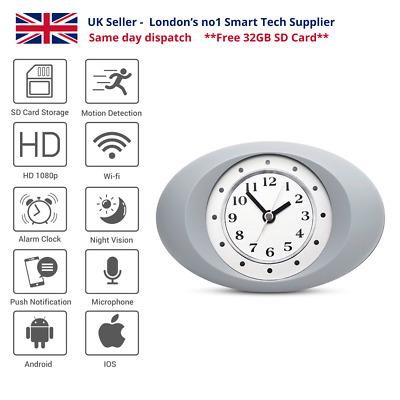 Alarm Clock With Smart 1080p HD IP Camera, Motion Detection And IR Light • 79.99£