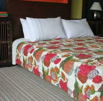 White Floral Kantha Quilt Indian Bedspread Handmade Bedding Blanket Throw  • 22.99£