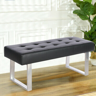 Black PU Leather Dining Bench Stool Upholstered Dinning Chairs Seat Chrome Bases • 86.95£