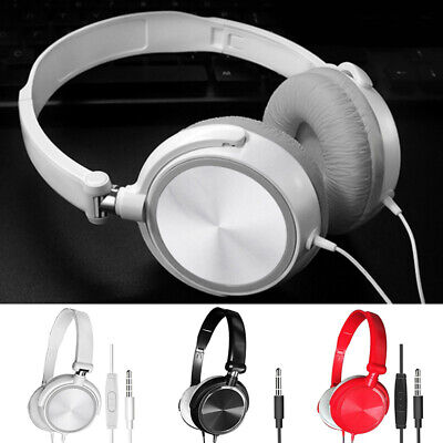 Over Ear Headphones Wired Headsets Bass Sound Earphones Microphone For PC Laptop • 7.30£