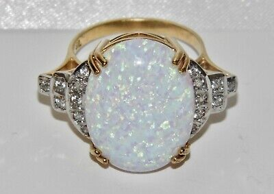 Art Deco 9ct Yellow Gold On Silver Fiery Opal Huge Cocktail Ring Size O • 65£
