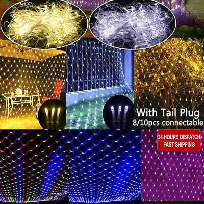 LED Fairy Lights Curtain Net Indoor Outdoor Wedding Xmas Tree Garden Party Decor • 8.69£