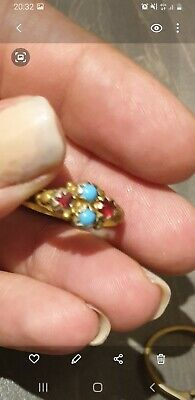 Turquoise And Ruby Ring • 98£