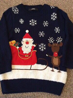 George - Boys Navy Rudolph & Santa Christmas Jumper Age 3-4 Years • 0.99£